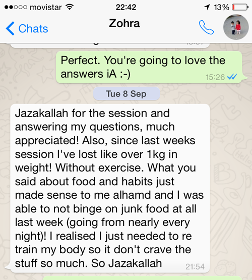 Testimonial from Zohra